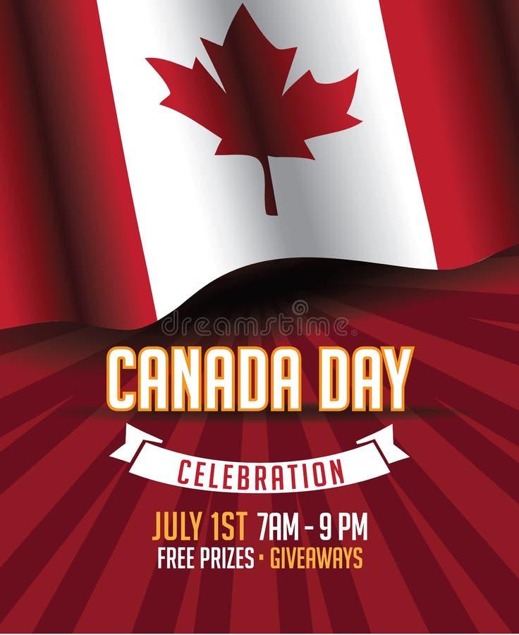 Progettazione della bandiera della foglia di acero di giorno del Canada royalty illustrazione gratis