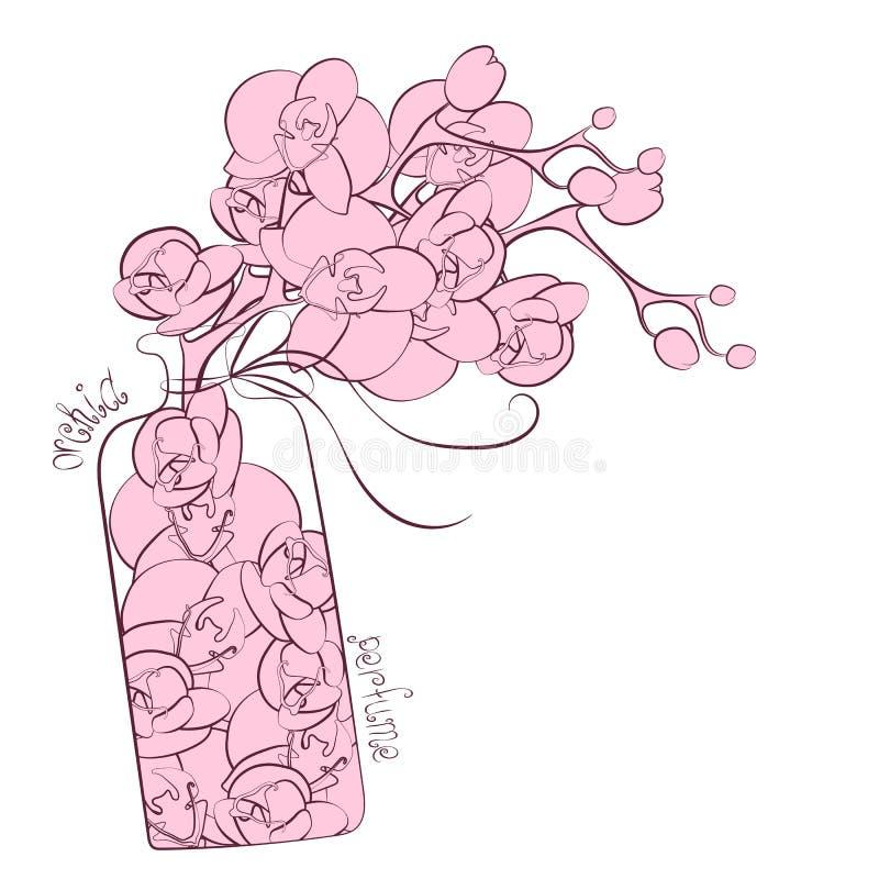 Progettazione della boccetta del profumo della decorazione dell'orchidea del fiore illustrazione di stock