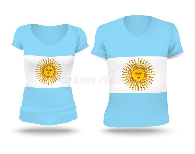 Progettazione della camicia della bandiera dell'Argentina illustrazione vettoriale