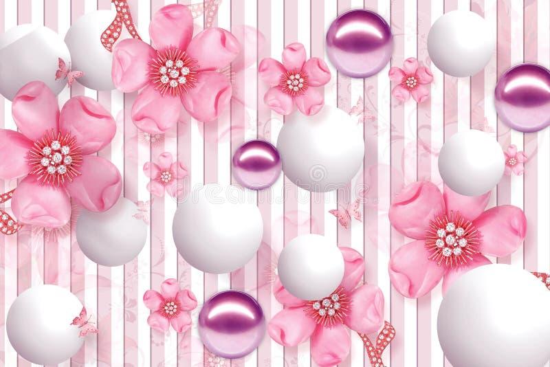 progettazione della carta da parati 3D con la palla dell'oro degli oggetti e le perle floreali e geometriche, fiore porpora della royalty illustrazione gratis