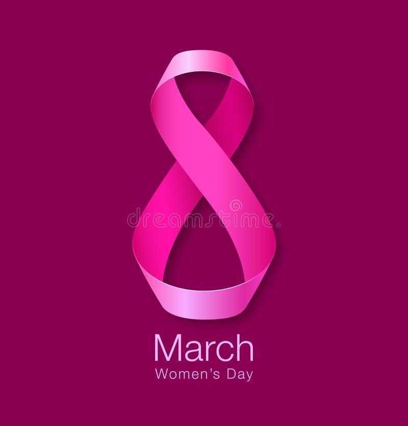 Progettazione della carta del giorno delle donne felici Nastro cartolina d'auguri realistica dell'8 marzo royalty illustrazione gratis