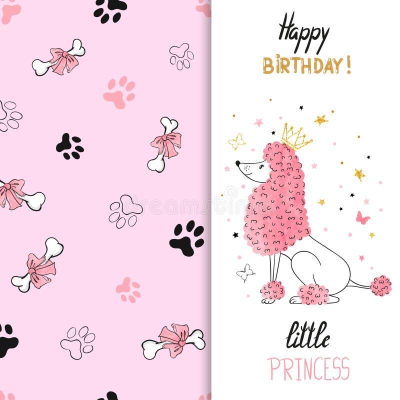 Progettazione della cartolina d'auguri di compleanno dell'acquerello con il barboncino di principessa illustrazione di stock