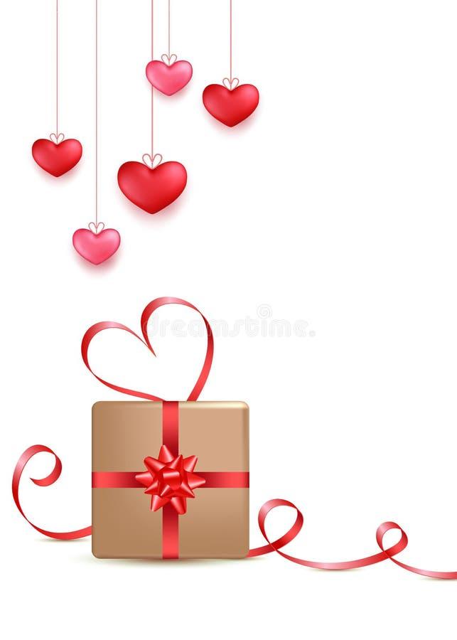 Progettazione della cartolina d'auguri di giorno di biglietti di S. Valentino nello stile 3d su fondo bianco Appendendo il rosso, illustrazione di stock