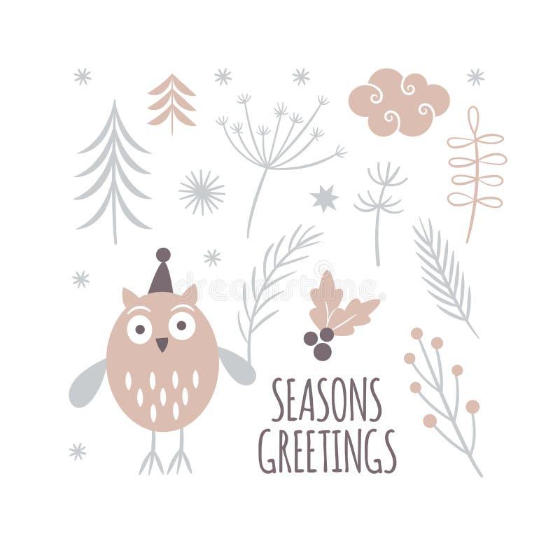 Progettazione della cartolina d'auguri di stagioni, gufo sveglio illustrazione vettoriale