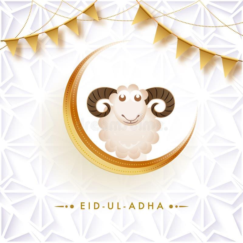 Progettazione della cartolina d'auguri, pecora sulla luna crescente con stamina dorata illustrazione di stock