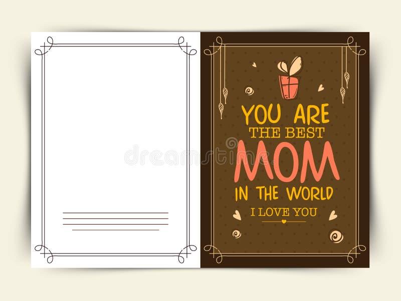 Progettazione della cartolina d'auguri per la celebrazione felice di festa della Mamma illustrazione di stock
