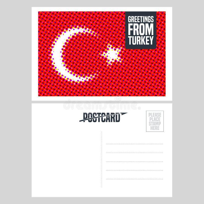 Progettazione della cartolina di vettore della Turchia, Costantinopoli con la bandiera del turco illustrazione di stock