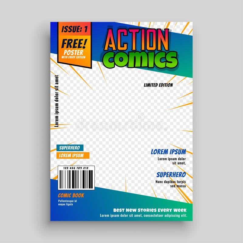 Progettazione della copertina del libro di fumetti di azione illustrazione di stock