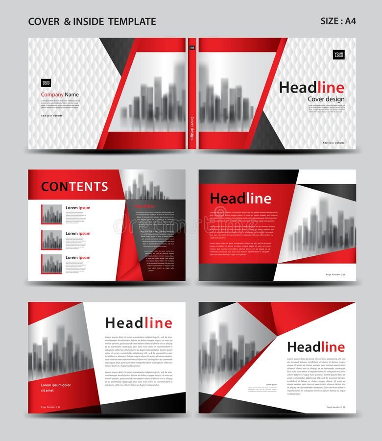 Progettazione della copertura e modello rossi dell'interno per la rivista, annunci, presentazione, rapporto annuale, libro, opusc illustrazione di stock