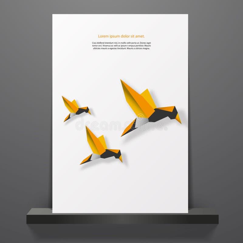 Progettazione della copertura o dell'aletta di filatoio con gli uccelli minimi di origami illustrazione di stock