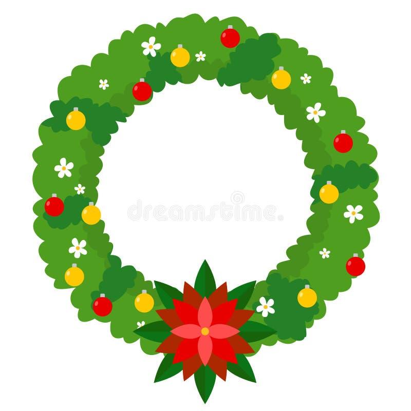 Progettazione della corona di Natale con le palle ed i fiori illustrazione vettoriale