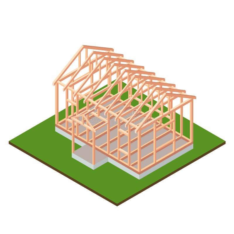 Progettazione della costruzione della base della casa di legno del legname royalty illustrazione gratis