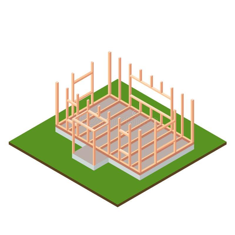 Progettazione della costruzione della base della casa di legno del legname Concetto isometrico illustrazione vettoriale