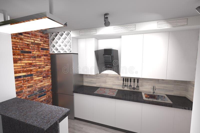 Progettazione Della Cucina 3D Moderna Illustrazione di Stock ...
