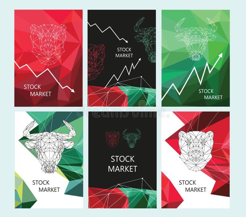 Progettazione della disposizione dell'opuscolo del mercato azionario Immagine poligonale di un toro e di un orso illustrazione di stock