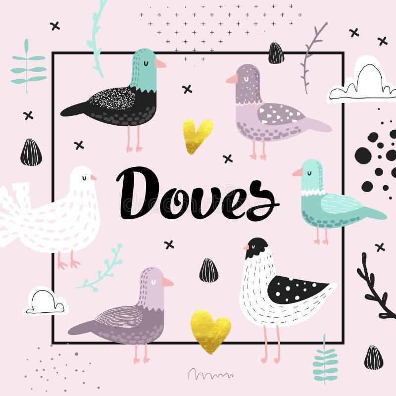 Progettazione della doccia di bambino con le colombe sveglie Fondo puerile disegnato a mano creativo del piccione dell'uccello pe royalty illustrazione gratis