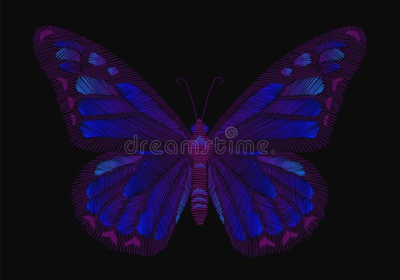 Progettazione della farfalla del ricamo per abbigliamento decorazione di vettore di insetto illustrazione vettoriale