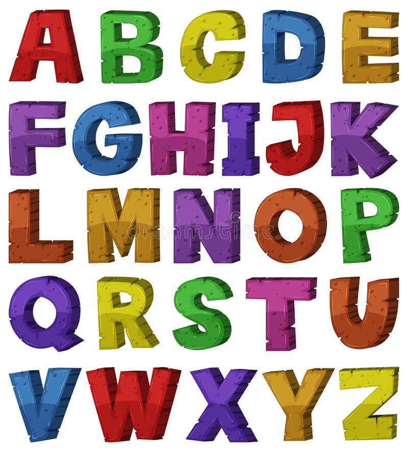 Progettazione della fonte per gli alfabeti inglesi illustrazione di stock