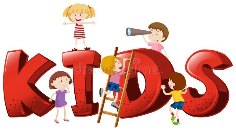 Progettazione della fonte per i bambini di parola illustrazione di stock