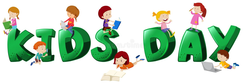 Progettazione della fonte per il giorno dei bambini con i lotti dei bambini illustrazione vettoriale