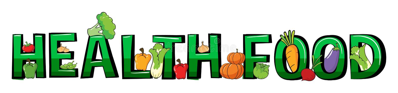 Progettazione della fonte per l'alimento salutare di parola royalty illustrazione gratis