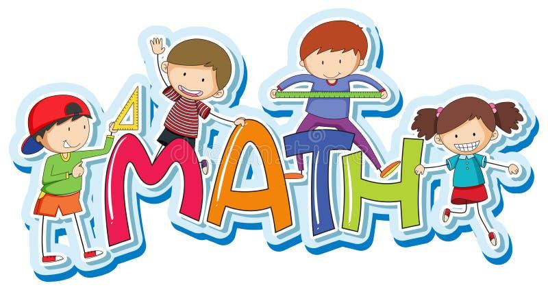 Progettazione della fonte per la matematica di parola con i bambini felici illustrazione di stock