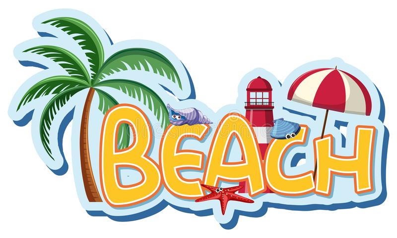 Progettazione della fonte per la spiaggia di parola illustrazione vettoriale