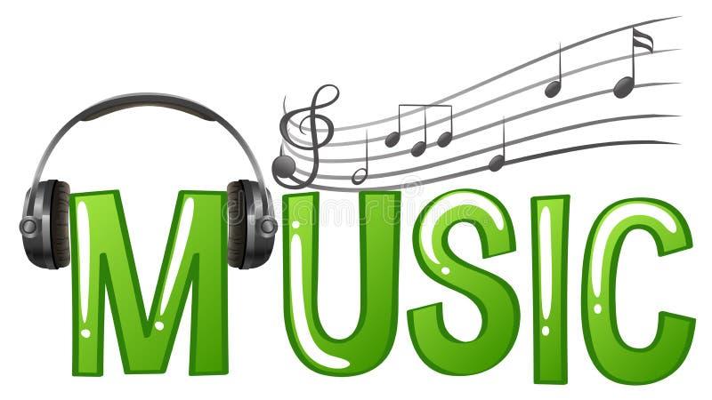Progettazione della fonte per musica di parola con le note di musica e della cuffia illustrazione vettoriale