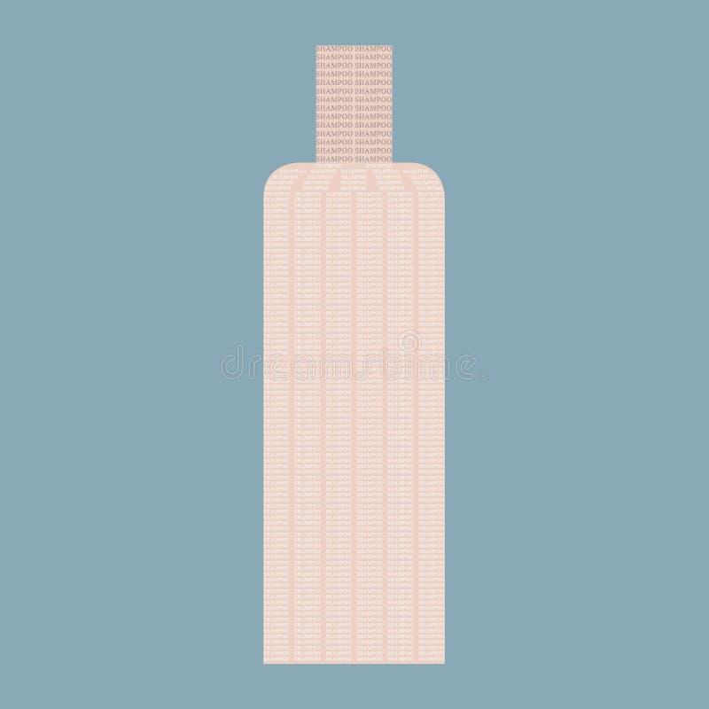 Progettazione della fonte Una bottiglia dei cosmetici fatta dal ` dello sciampo del ` di parola Vettore illustrazione di stock