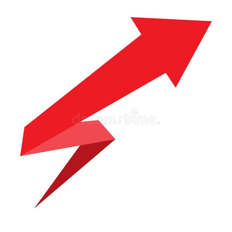 Progettazione della freccia per il infographics Freccia rossa su priorità bassa bianca illustrazione di stock
