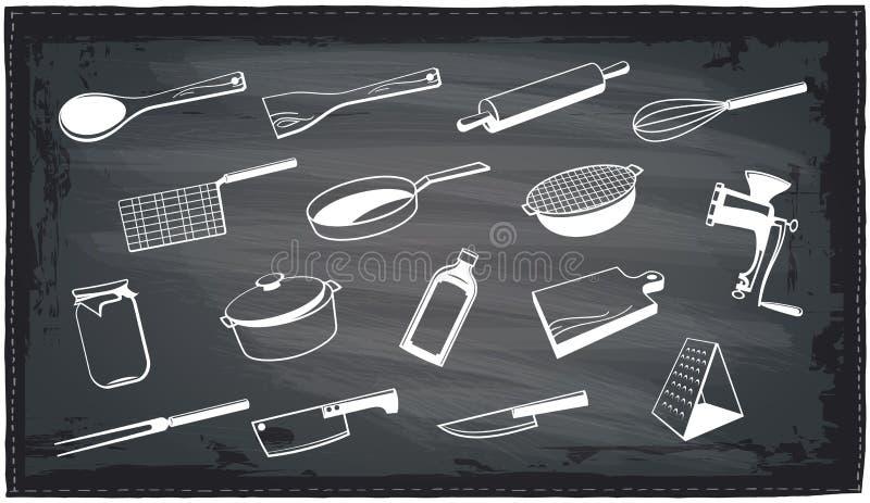 Progettazione della lavagna degli utensili della cucina royalty illustrazione gratis