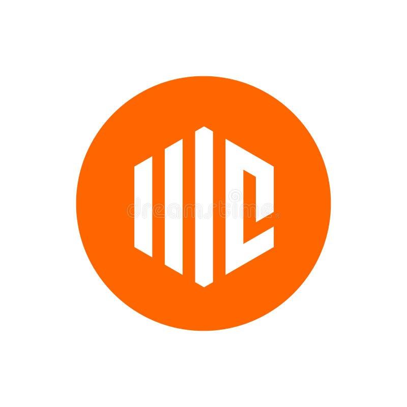 Progettazione della lettera iniziale MC Logo Icon, di esagono e di forma del cerchio, illustrazione arancio di vettore di colore illustrazione vettoriale