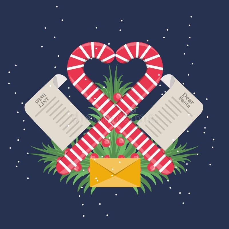 Progettazione della lista di obiettivi di Natale illustrazione di stock