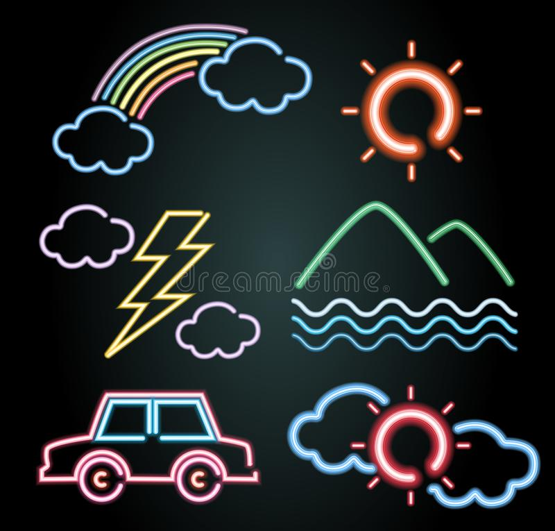Progettazione della luce al neon per gli elementi della natura e dell'automobile illustrazione di stock