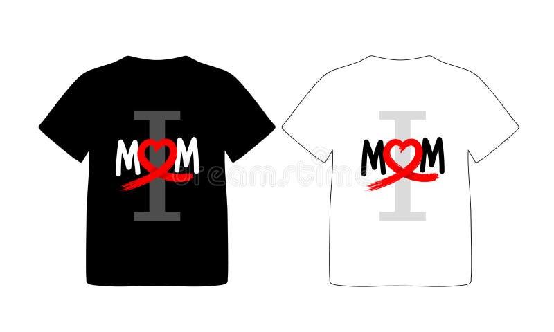 Progettazione della maglietta Amo il concetto della mamma illustrazione di stock