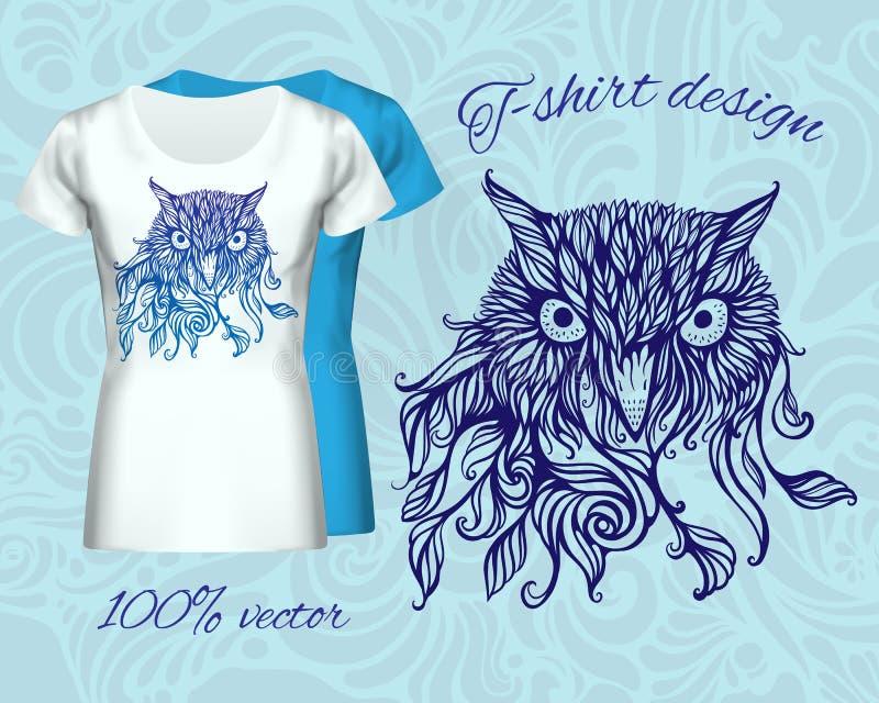 Progettazione della maglietta con la testa del gufo royalty illustrazione gratis