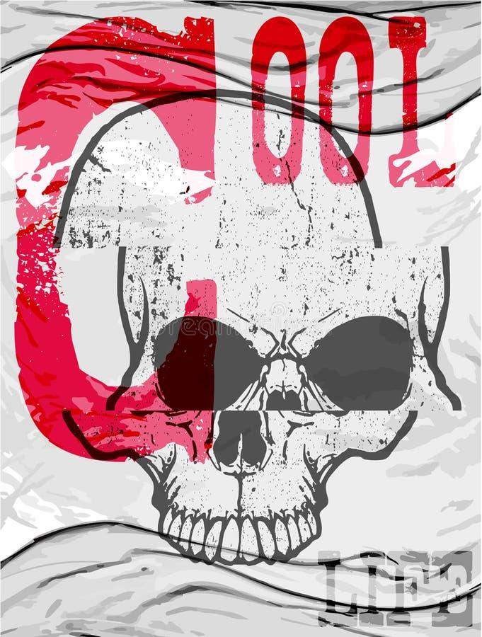 Progettazione della maglietta del cranio fotografie stock