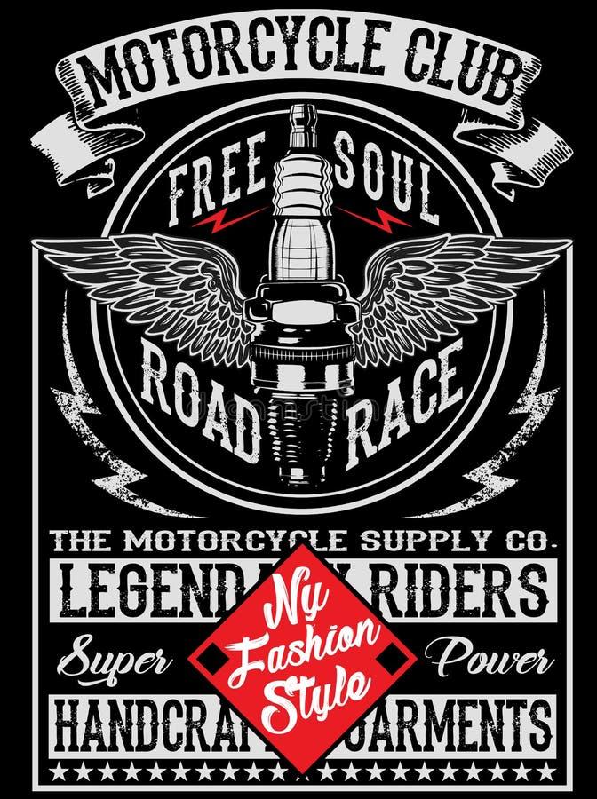 Progettazione della maglietta dell'etichetta del motociclo royalty illustrazione gratis