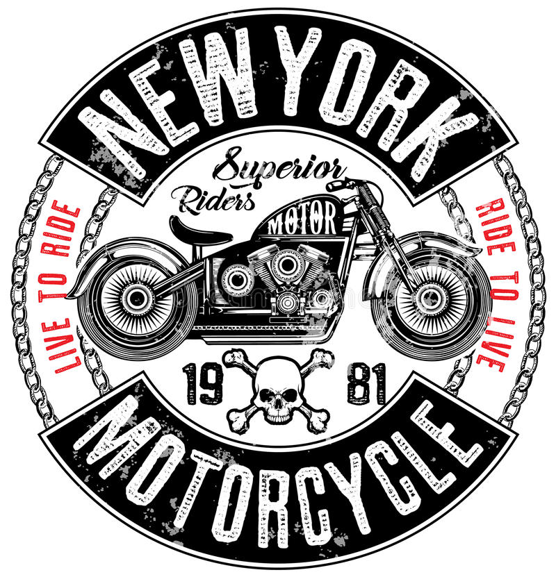 Progettazione della maglietta dell'etichetta del motociclo con l'illustrazione del taglio su ordinazione illustrazione vettoriale