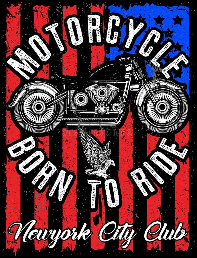 Progettazione della maglietta dell'etichetta del motociclo con l'illustrazione dell'abitudine illustrazione vettoriale