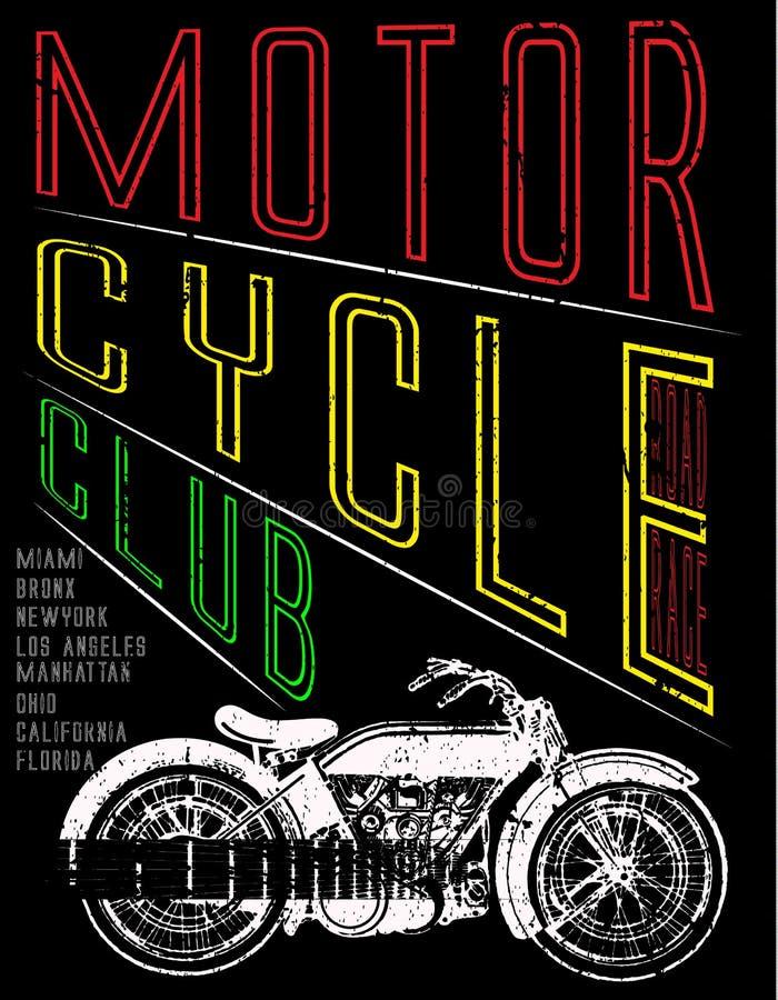Progettazione della maglietta dell'etichetta del motociclo con l'illustrazione di modo su ordinazione di arte del selettore rotan illustrazione vettoriale
