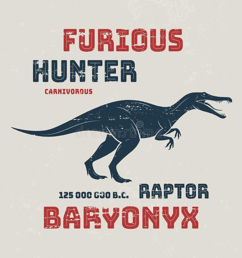 Progettazione della maglietta di Baryonyx, stampa, tipografia, etichetta illustrazione di stock