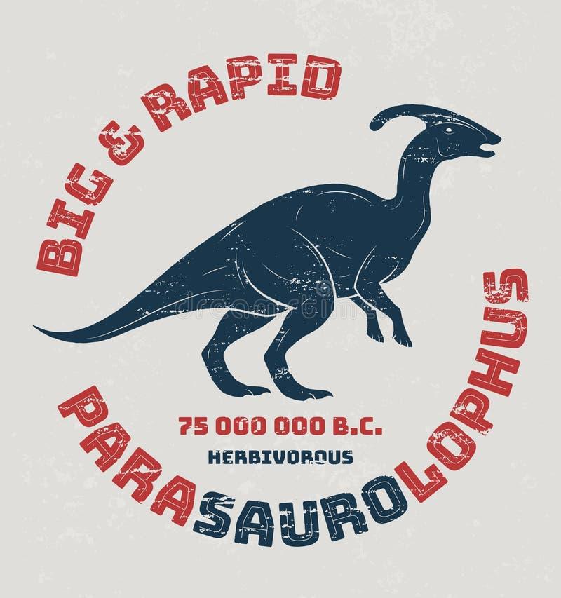 Progettazione della maglietta di Parasaurolophus, stampa, tipografia, etichetta illustrazione di stock