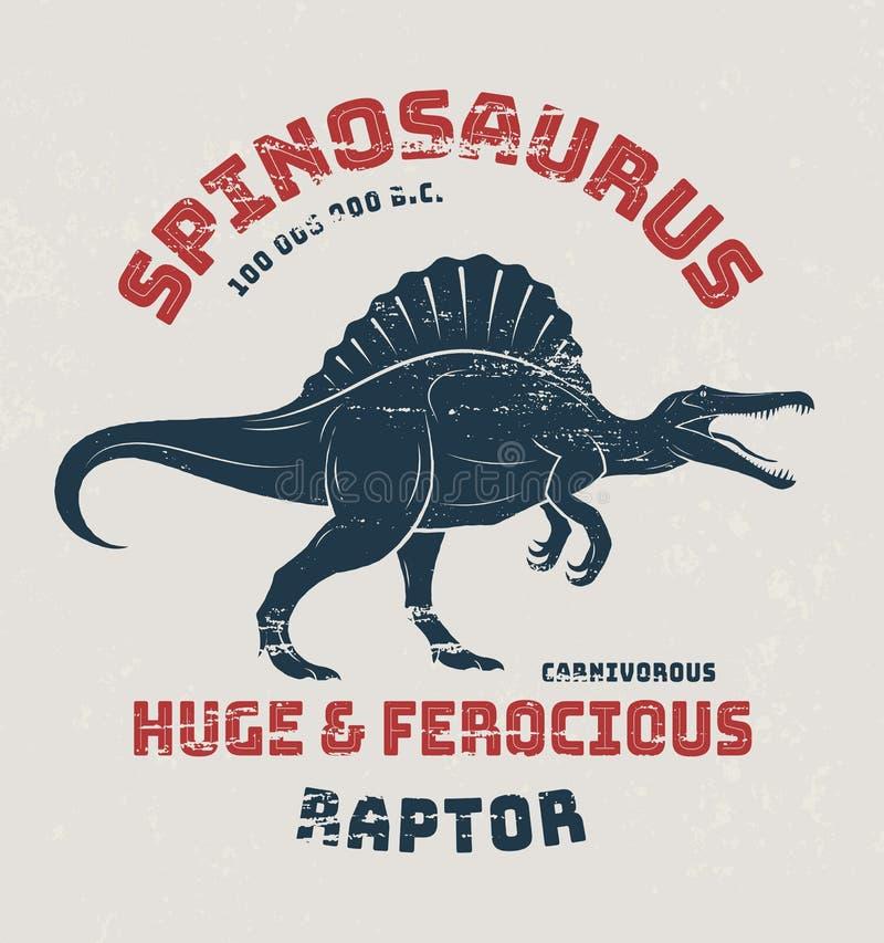 Progettazione della maglietta di Spinosaurus, stampa, tipografia illustrazione vettoriale