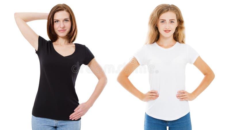 Progettazione della maglietta e concetto della gente - fine su di giovane donna due in maglietta in bianco e nero dello spazio in fotografia stock libera da diritti