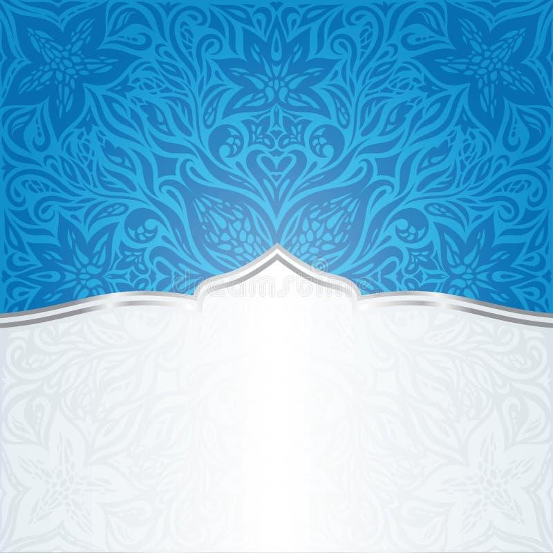 Progettazione della mandala del fondo della carta da parati floreale in blu scuro con lo spazio della copia illustrazione di stock