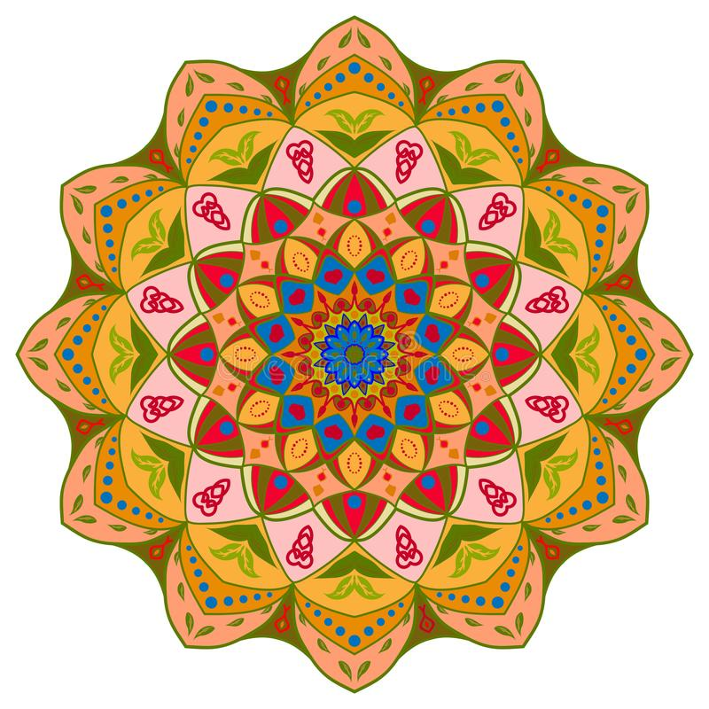 Progettazione della mandala, elementi decorativi d'annata, fondo ornamentale di scarabocchio illustrazione di stock