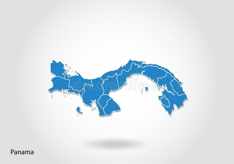 Progettazione della mappa del Panama con stile 3D Mappa e bandiera nazionale blu del Panama Mappa semplice di vettore con il cont illustrazione vettoriale