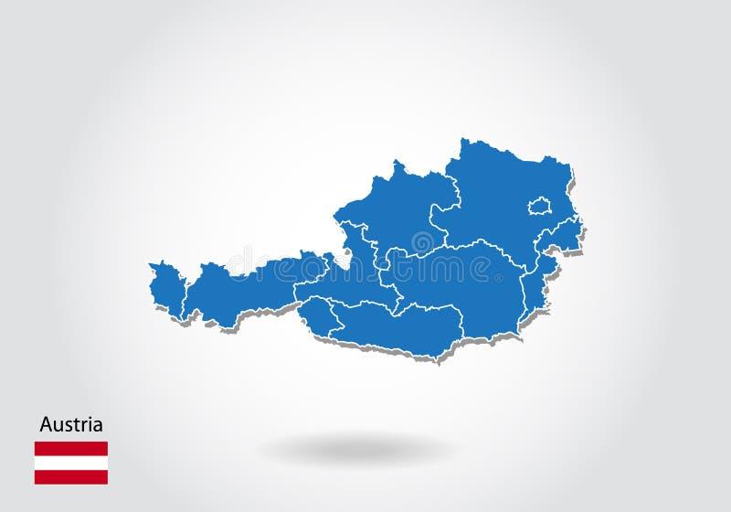 Progettazione della mappa dell'Austria con stile 3D Mappa e bandiera nazionale blu dell'Austria Mappa semplice di vettore con il  royalty illustrazione gratis