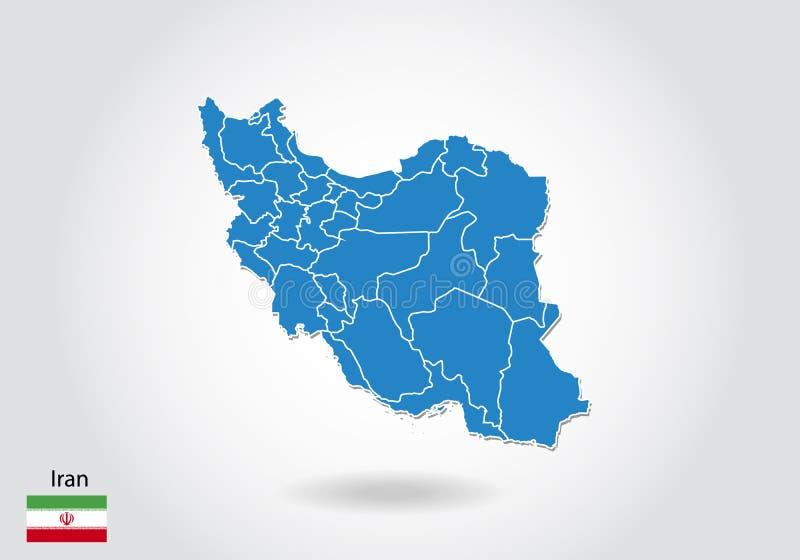 Progettazione della mappa dell'Iran con stile 3D Mappa e bandiera nazionale blu dell'Iran Mappa semplice di vettore con il contor illustrazione di stock
